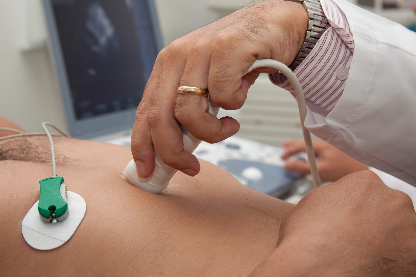 Patient undergoing a heart ultrasound
